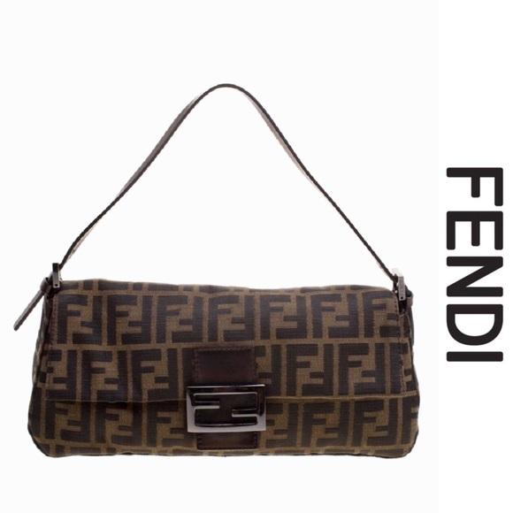 d2eb67f8395 Fendi Bags   Authentic Zucca Mia Flap Brown Canvas Bag   Poshmark